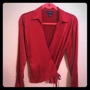 Ann Taylor Red Silk/ Spandex blouse